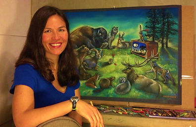 Mimi Matsuda, working on commissioned art for MontanaPBS