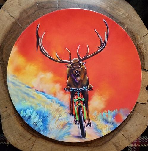 Elk, bike, plate, dinner plate