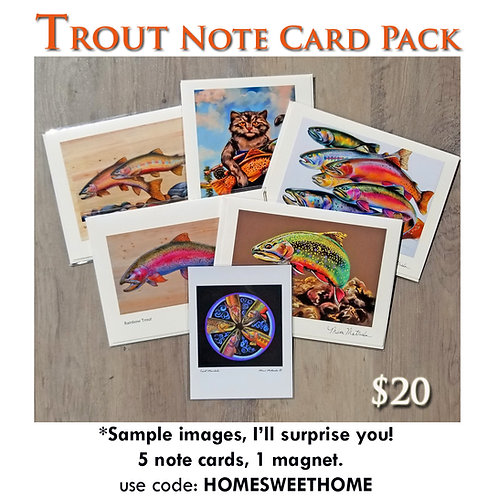 TROUT Note Card Pack & Magnet