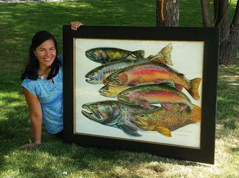 """Mimi Matsuda's """"World Trout"""" original art done for Inaugural Trout Congress"""