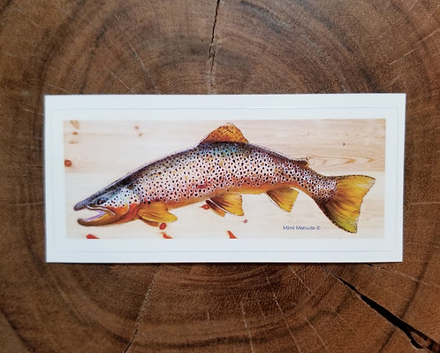 "Sticker - ""Brown trout on pine"""