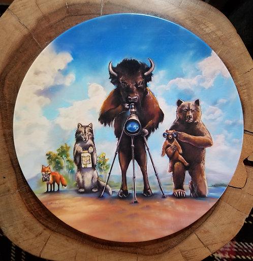 """Wildlife, Watching"" 10 inch diameter Plate"