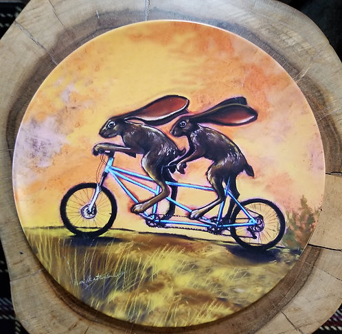 """""""Jack rabbit and Jill went up the hill"""" 10 inch diameter Plate"""