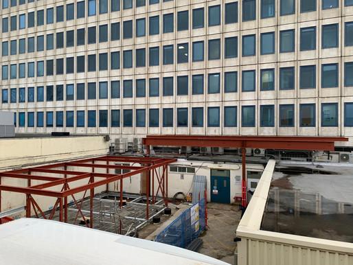 Steel Frame Gantry Support for 15 storey hoist