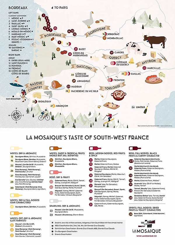 Map of South-West France's wine regions