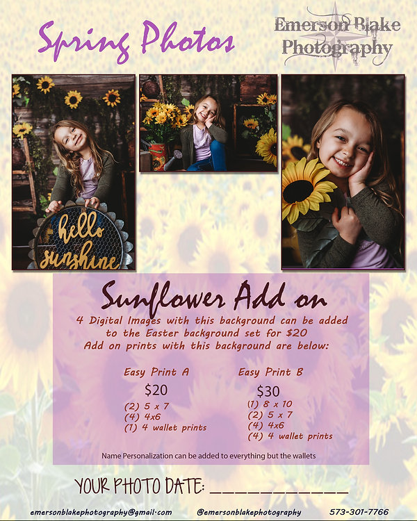 Spring Ad for Photos Sunflower Add On -