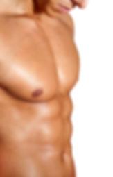 Torso of muscular man on white backgroun