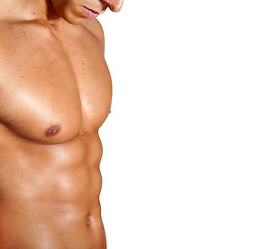 Torso of muscular man on white backgroun