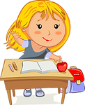 Blonde Girl at School Desk Clipart