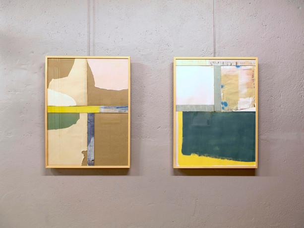 """Vue de l'exposition """"Collage"""" à l'atelier Prisme à Nantes en octobre 2019."""