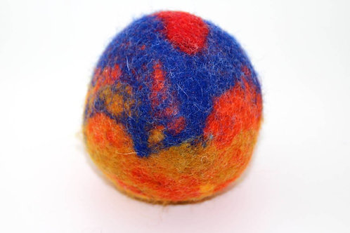 Filzball Blau Orange mit Rassel