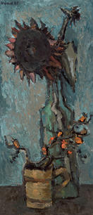 Stilleben mit Sonnenblume und Hagebuttenzweigen, 1969