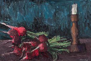 Stilleben mit Radieschen und Leuchter, 1969