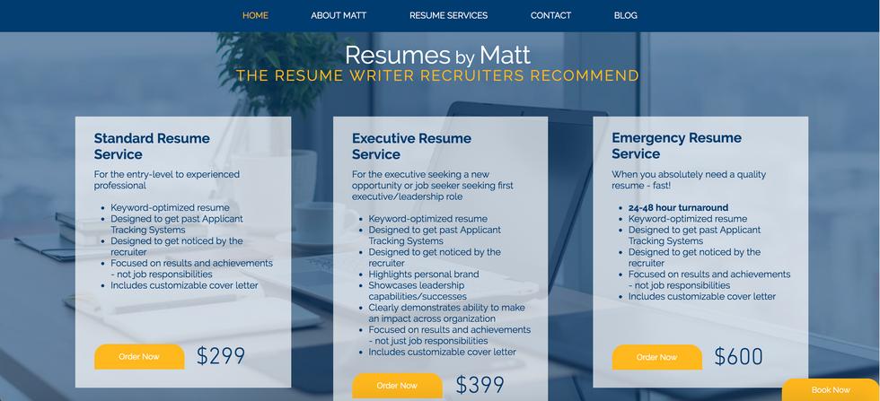 Resumes by Matt