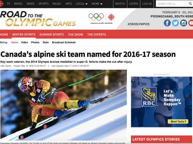 Canada's Alpine Ski Team Named for 2016-17 Season