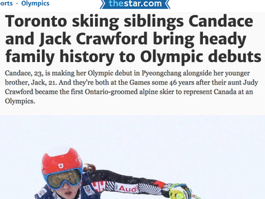 Toronto skiing siblings Candace and Jack Crawford bring heady family history to Olympic debuts