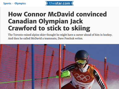 How Connor McDavid convinced Canadian Olympian Jack Crawford to stick to skiing