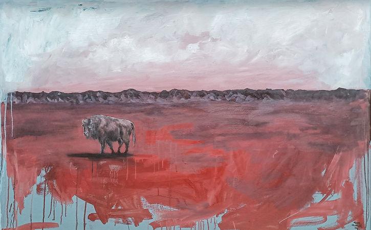 amanda forward, art, painting, bison