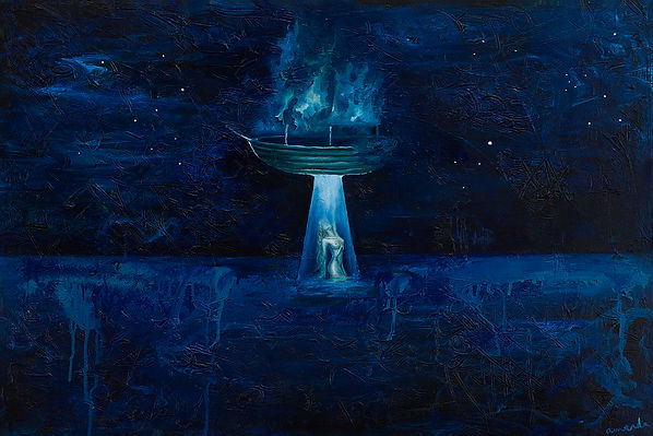 amanda forward, spaceship, art, ocean