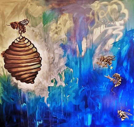 bees, hive, painting, amanda forward