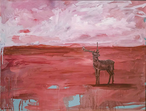 deer, amanda forward, oil painting, painting, art