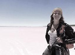 motorcycle, adventure, australia, pink lake, western australia, artist, amanda forward