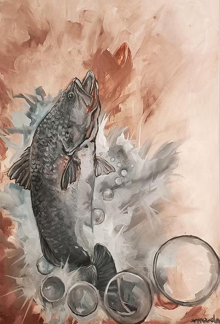 amanda forward, art, painting, baramundi, fish