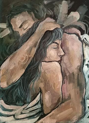 love, embrace, lovers, oil painting, amanda forward