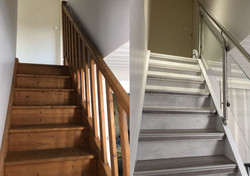habillage escalier bois et rampe inox et