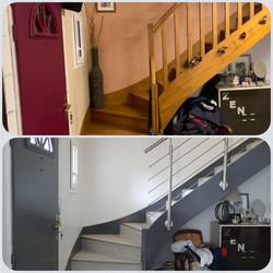 Habillage de l'escalier et Rampe Inox