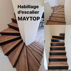 habillage escalier béton chêne et noir