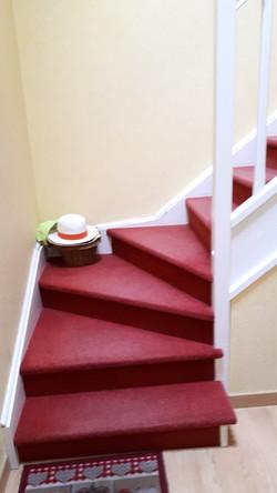 Escalier bois moquetté, AVANT la rénovation!