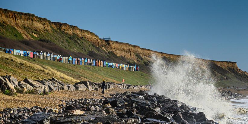 Beach Huts and Crashing Wave