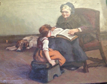 Old Woman Reading To Girl