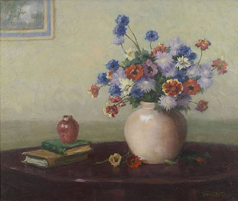 A Still Life With A Vase Of Flowers