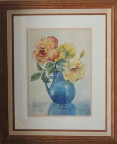 Dads Roses in Blue Jar.jpg