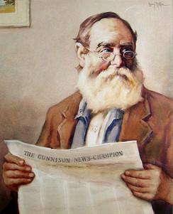 Mr. Davis Reading Gunnison Newspaper