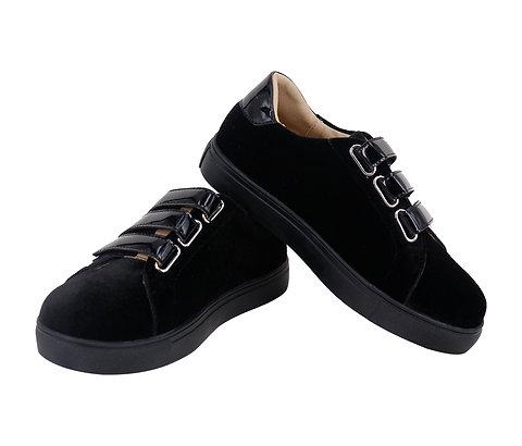 Black Velvet 3 Strap Sneaker