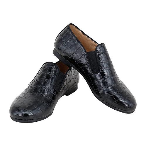 Black Crocodile Elastic Loafers