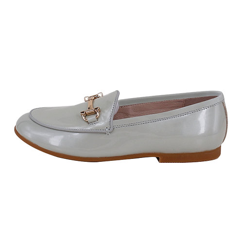 Grey Patent Buckle Loafers