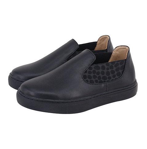 Black Leather Slip On Sneaker Shoe