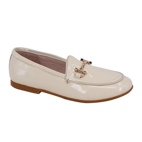 Nude Patent Buckle Loafers