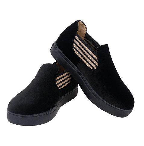 Brown Striped Slip On Sneaker Shoe