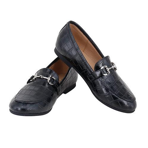 Black Crocodile Leather Buckle Loafers