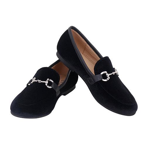 Black Velvet Buckle Loafer