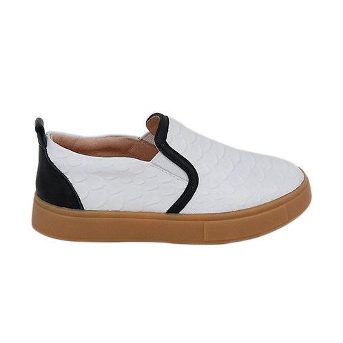 White Crocodile Slip On Sneakers