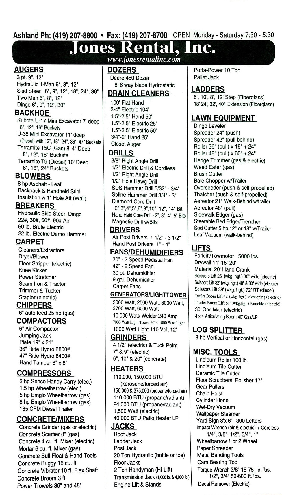 Jones Rental equipment rental and party rental options.