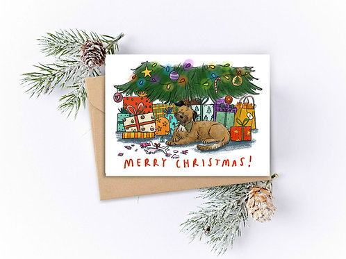 PACK OF 5 Dog Presents Christmas Cards