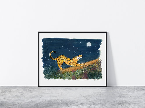 Limited Edition Night Sky Tiger A3 Print