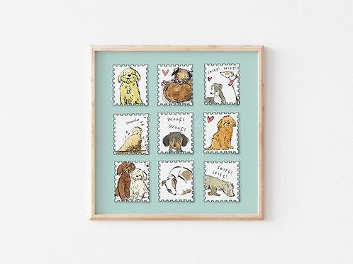Print - Dog Stamps